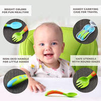 Toddler Utensils Baby Spoons and Forks Set- Includes Baby Utensils Case | Toddler Spoon | Toddler Fork - Bpa Free (4 Pieces)