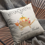 Auomily Fall Harvest Pillow Covers Pumpkin Truck Thanksgiving Blessings Farmhouse Decorative Cotton Linen Throw Pillow Case Cushion Cover for Sofa Couch 18 x 18 Inch Set of 4