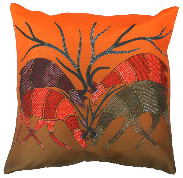 Throw Pillow Cover - Wild Life Art - 18 x 18 Inch Decorative Cushion Cover Zippered Orange & Beige Pillowcase - Home Furnishings for Nap Couch Sofa and Ottoman / Housewarming Ideas