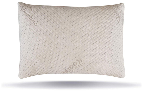 Snuggle-Pedic USA Made Ultra-Luxury Adjustable Bamboo Shredded Memory Foam Pillow with Zipper Removable Kool-Flow Breathable Cooling Hypoallergenic Pillow Cover (Queen)