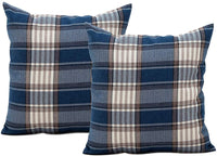 Jiuhong Cotton Linen Throw Pillow Covers Farmhouse Decor Checkers Plaids Square Cushion Case Home Decorative for Sofa Bedroom Car, 2 Pack (Navy, 18 x 18 Inch)