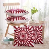 Deconovo Christmas Cushion Covers Square Cotton Canvas Pillow Cover with Sun Flower Floral Pattern Pillow Covers for Throw Pillows Red and White 18x18 Inch Set of 4 No Pillow Insert
