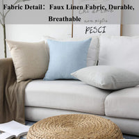 Home Brilliant Decorative Throw Pillow Covers Lined Linen Square Pillow Covers for Couch Sofa, Set of 4, Light Linen, 45 cm
