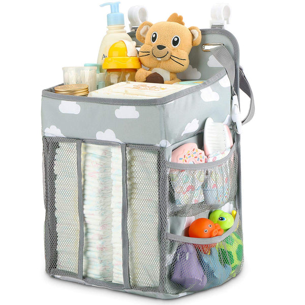 Hanging Diaper Caddy Organizer - Diaper Stacker for Changing Table, Crib, Playard or Wall & Nursery Organization Baby Shower Gifts for Newborn (Gray Cloud)