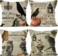 LafyKoly Happy Halloween Pumpkin Decoration Cotton Blend Cushion Cover Set of 4 Fall Decor Thanksgiving Throw Pillow Covers 18x18 inch (Bird)