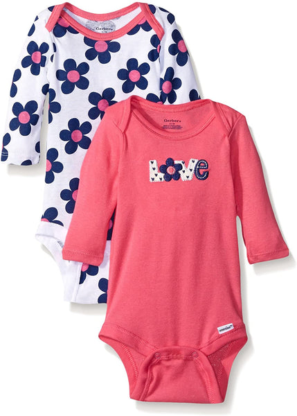 GERBER Baby Girls' 2-Pack Long-Sleeve Onesies Bodysuit