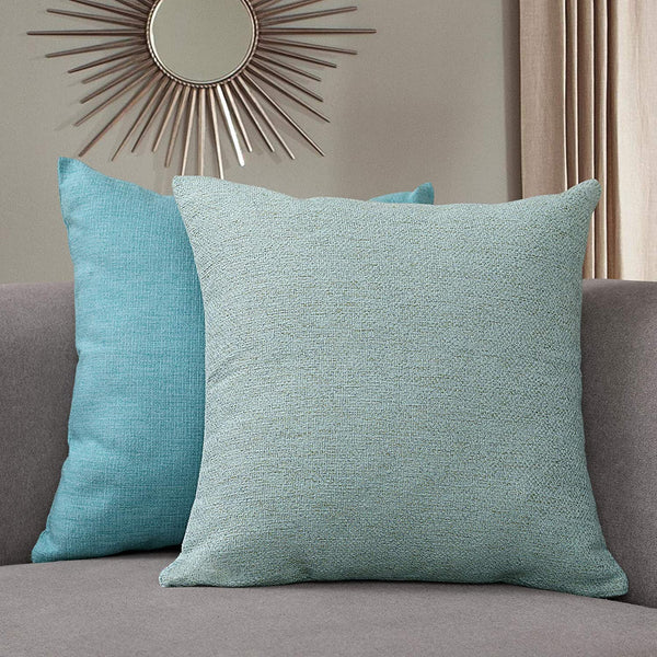 "Sunlit Decorative Throw Pillow Case Cushion Covers, Modern Accent Square Pillow Case Cover, 18"" x 18"", Set of 2 Teal Blue Serious Linen Throw Pillow Case for Sofa Couch Chair Bedroom, Teal Blue"