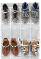 "Simple Houseware 24 Pockets Large Clear Pockets Over The Door Hanging Shoe Organizer, Gray (56"" x 22.5"")"