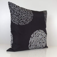 "Greyish Off White and Black Pillow, Throw Pillow Cover, Decorative Pillow Cover, Cushion Cover, Pillowcase, Patterned Pillow, Cotton Blend (16""x16"")"