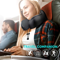 Updated 2020 Version Travel Airplane Pillow 100% Pure Memory Foam Neck Pillow, Comfortable & Breathable Cover, Machine Washable, Airplane Travel Kit with 3D Contoured Eye Masks, Earplugs