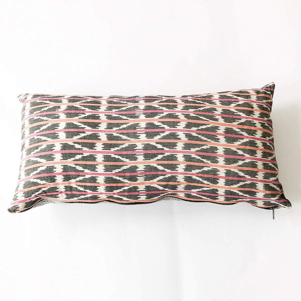 Rustic Loom Handwoven Ikat Lumbar Toss Pillow Orange Pink Triangle Stripe