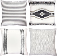 Woven Nook Decorative Throw Pillow Covers, 100% Cotton Canvas, Sahara Set, Pack of 4