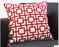 traditional red geometric embroidered cushion cover pillowcase household cotton canvas throw pillow cover home decor