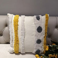 Yellow Grey Cushion Cover Pillow Case Wool Handmade For Sofa Seat Moroccan Style Home Decorative Canvas 45x45cm