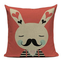 Elegant Cotton Linen New Korean Cartoon Little Animal Bed Sofa Cushion cover 45Cmx45Cm Square Houseware Printed Pillow Case