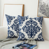 Navy Blue Floral Embroidered Cushion Cover  Geometric Canvas Cotton Square Pillow Cover 45x45cm Home Decor