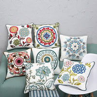 crewel Canvas embroidered pillow Vintage Embroidery Pillow case Cushion Cover Ethnic National Handmade Flower Boho