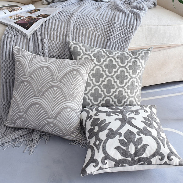 1PC Nordic Geometric Cushion Cover Emboridered Grey Canvas Cotton Embroidery Pillow Cover Sofa Car Home Decorative 45x45cm