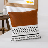 Nordic Simple Color Matching Pillowcase Home Sofa Canvas Printing Leather Cushion Cover Decorative Bedside Pillow Without Core