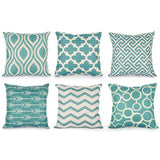 6PC/Set Geometric Cushion Covers Quatrefoil Teal Turquoise Linen Throw Pillow Case Bed Decorative Throw Pillows Sofa Canvas