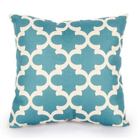 Topfinel Geometric Cushion Covers Quatrefoil Teal Turquoise Linen Throw Pillow Case Bed Decorative Throw Pillows Sofa Canvas