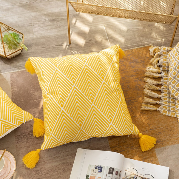 45x45cm Cushion Cover Geometric Canvas Cotton Embroidery Pillow Cover Decorative Pillowcase for Sofa Bed Yellow