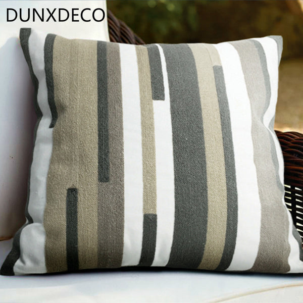 DUNXDECO Cushion Cover Decorative Pillow Case Nordic Modern Industry Loft Geometric Embroidery Cotton Canvas Coussin Sofa Decor
