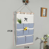 Canva Storage Bag Striped Wall Hanging Multi-pockets Linen Cotton Bathroom Shelf Pouch Kitchen & Housewares Household Accessory