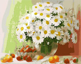 Flower Simulation Oil Paiting by number 11 Head Silk Flowers  Desktop Wedding Houseware Home Decoration Cherry chrysanthem ZX39