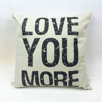 Fashion Nordic Style Houseware Home Decor Cojines LOVE YOU MORE Printed Sofa Pillow Throw Linen Cotton Pillow Cushion Almofadas