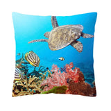 Sea Turtle Yellow Stripe Fish Cushion Cover Fish Coral Ocean Pillow Cases Nordic Sofa Houseware Throw Pillows 43*43cm Peach Skin