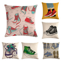 45 * 45 Cm Hand-painted Oil Painting Lively Canvas Shoes Cushion Cover Suitable for Home Decoration Square Sofa Pillow Case