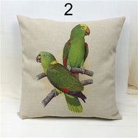 Decorative Cotton Canvas Embroidery Parrot Cushion Cover Little Girl for Sofa Car Outdoor House Room Bedding Throw Pillow Case