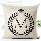 "2017 Hot Sale Decorative Cushion Cover 18""  Cotton Canvas Linen Letters Cushions for Couch Sofa Bed Couple Lovers Pillow Cover"