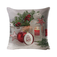 Christmas Throw Pillow Cover Home Decorative Canvas Pillow Case Print Pillow Cover Cushion Cover with Hidden Zipper 45*45CM