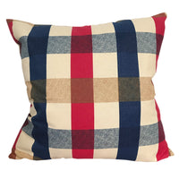 CURCYA Cotton Cushion Cover Mediterranean Style Plaid Throw Pillow Cover Thick Canvas Pillow Case