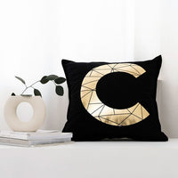 45x45cm Nordic Simple Cotton Canvas Hot Stamping Letter AB Pillow Modern Style Hot Silver Cotton Sofa Cushion Cover