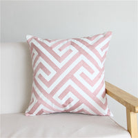 Nordic Home Decor Embroidered Cushion Cover Yellow Grey/Pink Geometric Floral Canvas Cotton Square Embroidery Pillow Cover 45x45