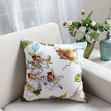 45X45cm Cotton canvas floral printed cushion cover pillowcase sofa square waist pillow cover for backrest home decor