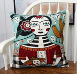 folk pattern embroidered throw pillowcase cushion cover cotton canvas lumbar pillow cover sofa household decor