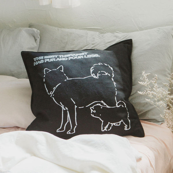 Nordic Simple Cotton Canvas Dog Printed Sofa Cushion Cover Black White Decorative Pillow Cover Bed Car Chair Warm Pillowcase
