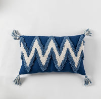 CAMMITEVER Blue White Exquisite Flocking Cushion Cover Canvas Cushion Cover Square Waist Throw Pillow Cover Drop Ship Order