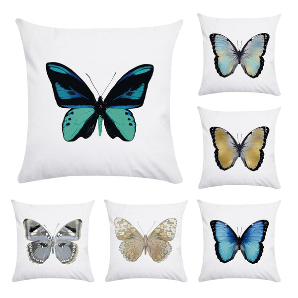 45x45cm Home Decor Emboridered Cushion Cover Beautiful Butterfly Canvas Cotton Polyester Suqare Embroidery Pillow Cover CR172