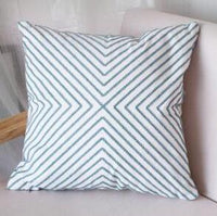45cm geometric blue embroidered cushion cover cotton canvas lumbar pillow cover sofa square geometric pillowcase