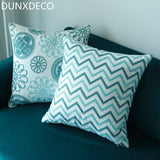 DUNXDECO Cushion Cover Decorative Pillow Case Cotton Canvas Thread Embroidery Blue Wave Geometric Nordic Flora Coussin Sofa Deco