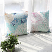 45x45cm 60x60cm Big Flower Printed Cushion Cover Room Decoration Canvas Cotton Square Pillow Cover For Sofa Seat