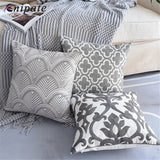 Enipate 1 PC Nordic Geometric Cushion Cover Gray Embroidered Canvas Cotton Throw Pillow Cover For Sofa Car Home Decor