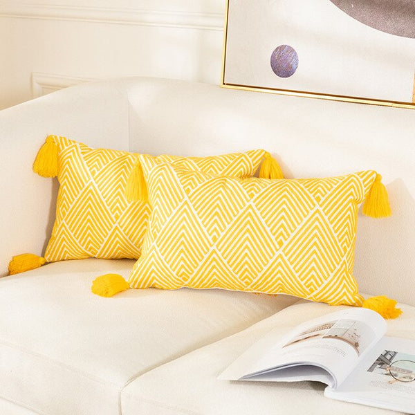 Yellow Cushion Cover Geometric Canvas Cotton Embroidery Pillow Cover 45x45cm/30x50cm Decorative Pillowcase for Sofa Bed 2pcs