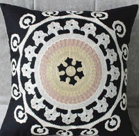 45*45cm National cotton canvas embroidery geometric floral black cushion cover sofa decorative pillow cover vintage pillowcase