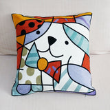 Abstract Dog Embroidered Square Pillow Cover Art Painting Cushion Cover Car Chair Sofa Pillow Case 45x45cm Without Stuffing